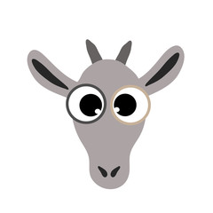 Vector illustration of goat head on white background.