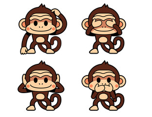 Vector set of cute monkey in different actions isolated on white background