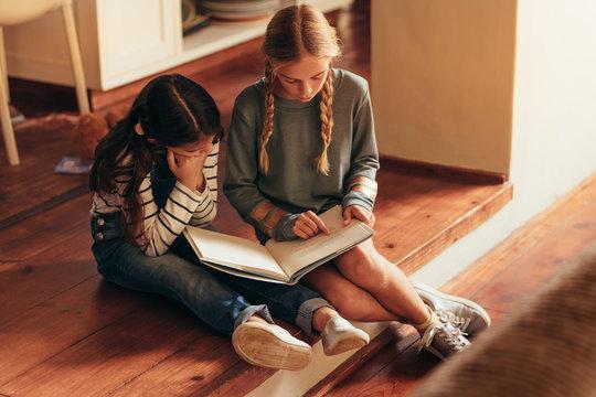 Girl reading storybook for her little sister
