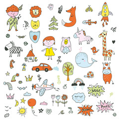 Kids doodle set - funny drawing of children, animals, transport, nature. Vector graphic illustration