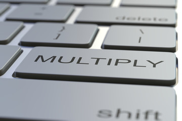 Keyboard with MULTIPLY key. Conceptual 3D rendering