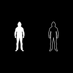 Man in the hood concept danger silhouette front side icon set white color illustration flat style simple image
