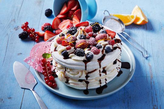 Freshly made Pavlova dessert with meringue