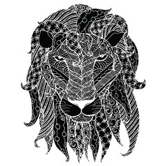 Monochrome zentangle style sketch of lion head with lush mane design element stock vector illustration for tattoo, for web, for print, t-shirt design