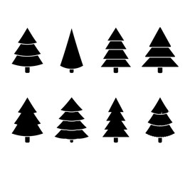 Christmas tree black white set illustration vector