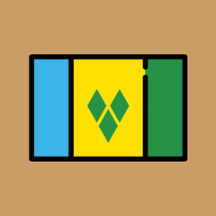 st vincent and the grenadines flag icon. flat design