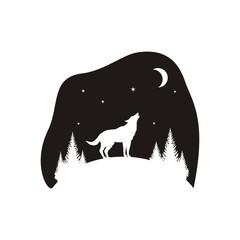 Силуэт волка и леса