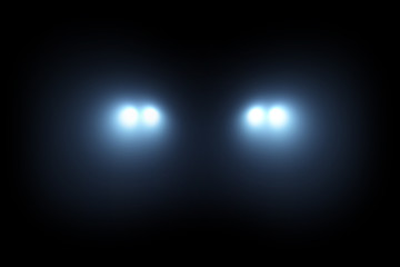 Car head lights shining from darkness background Wall mural