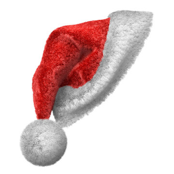 Santa Claus red and white hat hanging on something