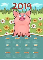 Calendar for 2019 with cartoon funny pig symbol of the year, hand drawing, vector illustration. Colorful design wall calendar for 12 months with a pretty funny pig on the background of flower field