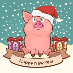 Happy New Year card, poster, banner with a cute funny pig in santa hat and gift boxes amid falling snow, place for congratulations, vector illustration in retro style, cartoon colorful hand drawing