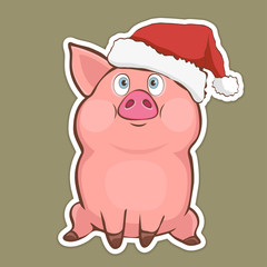 Cute funny pig in Santa hat sticker, sign, symbol, design element, colorful hand drawing, cartoon character, vector illustration, caricature, isolated with white stroke on a colored green background