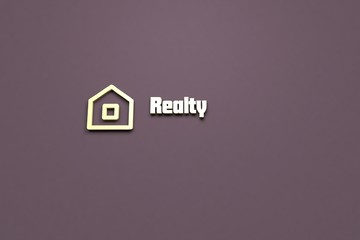 Text Realty with yellow 3D illustration and purple background