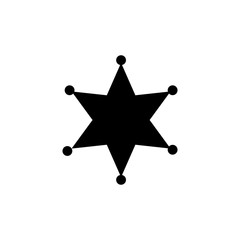 Sheriff star black symbol. Simple silhouette of six rays star with round tips.