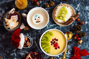 holiday breakfast, christmas or new year background with food