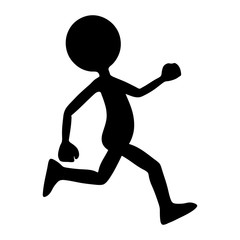 Black Silhouette (shape) from Running Cartoon Character