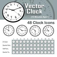 48 Classic Vector Clock Icons - 15 Minutes Apart