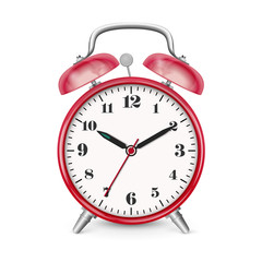 Classic Alarm Clock Vector Icon with Red Surface.