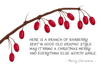 Christmas Greeting Card with Branch of Red Barberries
