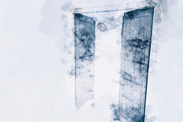 Abstract painting of doors in cold tone, digital watercolor painting