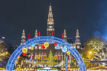 Christmas market in Vienna, Austria, Europe