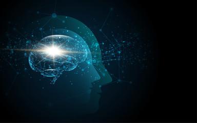Brain inside head of human artificial intelligence digital wireframe dot vector illustration Wall mural