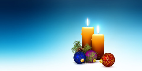 Vector XMAS Greeting Card Template with Two Orange Candles and Cold Blue Abstract Background.