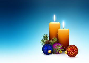 Two Orange Candles - Template for Christmas Greeting Cards on Cold Blue Background
