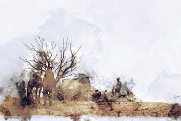 Abstract painting of camel camp in vintage tone, digital watercolor painting