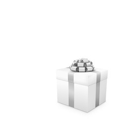 White Gift with Silver Ribbon in Square Format