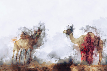 Abstract painting of camels in vintage tone, digital watercolor painting