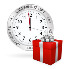 Red Gift Box and Last Minute Clock with Golden Border