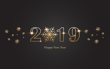 2019 Happy new year with gold alphabet on black background
