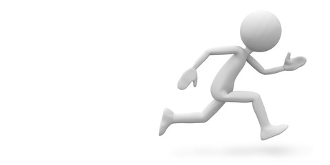 Speed Running 3D Cartoon Character on White Background