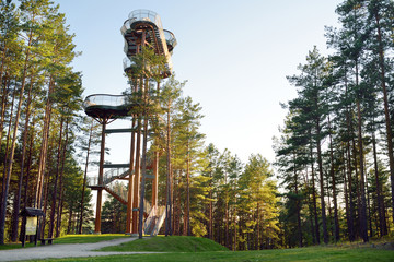 Merkine observation tower, located on a high bank of the largest river in Lithuania, Nemunas, in deep pine forest.