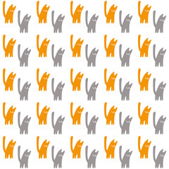 Orange and gray cats, vector seamless pattern, a concept vector illustration on a white background