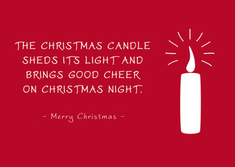 Red Christmas Greeting Card - Candlelight and Poem