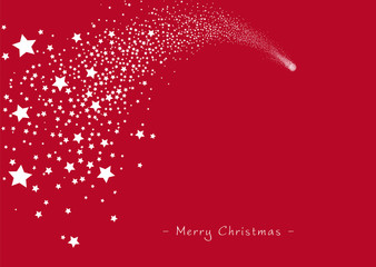 Shooting Star - Red Christmas Greeting Card Template