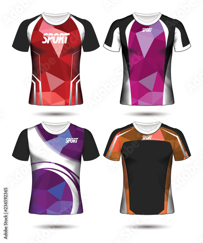Set of Soccer sport t-shirt layout design poly template and