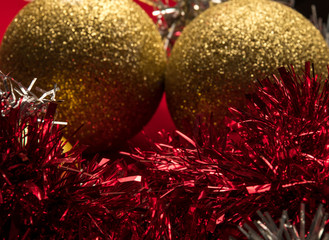 Christmas holidays composition on red background