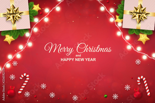 merry christmas background with luminous garlands gift boxes candy cane and snowflakes horizontal