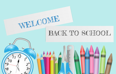 Back to school text on paper record with school supplies on green background. Vector illustration