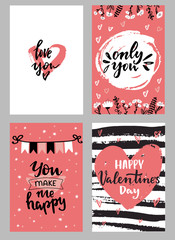 Set of Valentine's day greeting cards with hand written lettering greeting words and modern brush strokes and painted splashes decoration on background