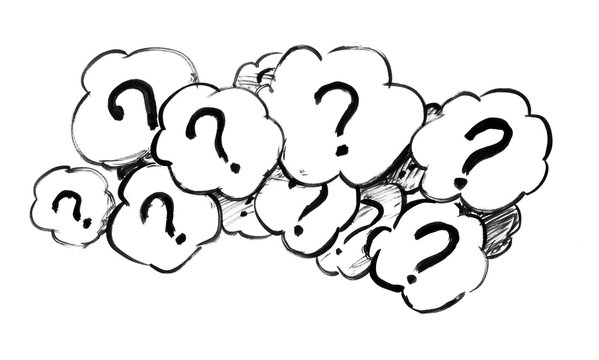 Black brush and ink artistic rough hand drawing of group of speech bubbles or text balloons with asking question marks.