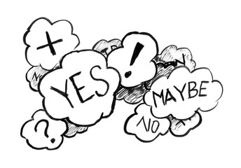 Black brush and ink artistic rough hand drawing of group of speech bubbles or text balloons with words and symbols like question or exclamation marks and representing uncertainty and decision.