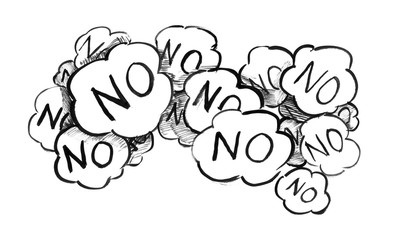 Black brush and ink artistic rough hand drawing of group of speech bubbles or text balloons with word No representing negative answer, rejection or negativity.