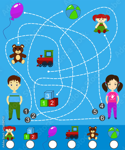 Kids maze game with toys  Labyrinth game and activity page