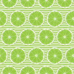 Seamless Pattern with Lime Slices