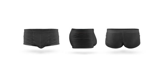 Blank black mens trunks underwear mockup set, isolated