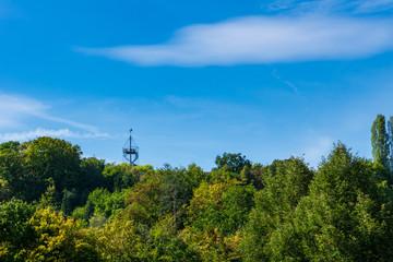 Germany, Killesbergturm the tower of Stuttgart quarter Killesberg behind green trees